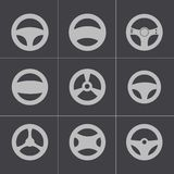 Vector black Steering wheels icons set Stock Image