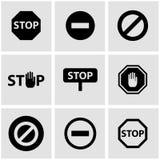 Vector black stop icon set Stock Photos