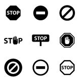 Vector black stop icon set Stock Photo