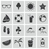 Vector black  summer icons Stock Photos