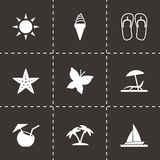 Vector black summer icons set Stock Image