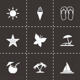 Vector black summer icons set. On black background Stock Image