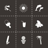 Vector black summer icons set Royalty Free Stock Image