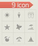Vector black summer icons set Royalty Free Stock Images