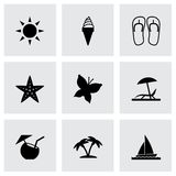Vector black summer icons set Royalty Free Stock Photography