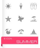 Vector black summer icons set Stock Images