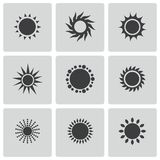 Vector black sun icons set Royalty Free Stock Photo