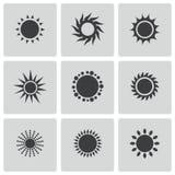 Vector black sun icons set Royalty Free Stock Photo