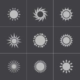 Vector black sun icons set Royalty Free Stock Photography