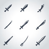 Vector black sword icon set Royalty Free Stock Image