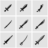 Vector black sword icon set Royalty Free Stock Images