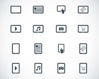 Vector black tablet icons Royalty Free Stock Photo