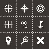 Vector black target icon set. On black background Stock Images