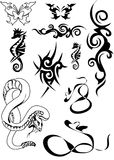 Vector black tatoo 5. Butterflies, snakes, the sea fad and patterns for tatoo Royalty Free Stock Images