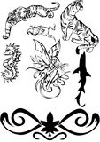 Vector black tatoo 6. Tigers, The gnome, elf, the sea fad, a pattern for tatoo Stock Images