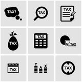 Vector black tax icon set. On grey background Royalty Free Stock Images