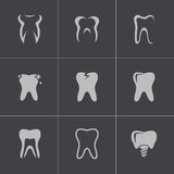Vector black teeth icons set Royalty Free Stock Photos