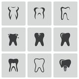 Vector black teeth icons set Royalty Free Stock Photo