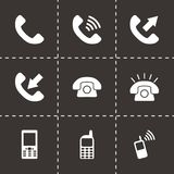 Vector black telephone icon set Stock Images