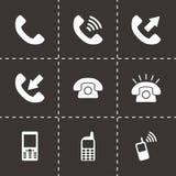 Vector black telephone icon set Stock Images