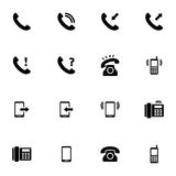 Vector black telephone icons set Stock Photos