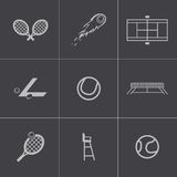 Vector black tennis icons set Stock Photography