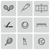 Vector black tennis icons set Stock Image