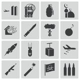 Vector black  terrorism icons Royalty Free Stock Photo