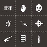 Vector black terrorism icons set. On black background Royalty Free Stock Photography