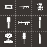 Vector black terrorism icons set. On black background Royalty Free Stock Image