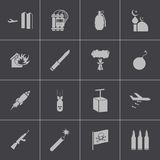 Vector black  terrorism icons set Stock Images