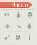 Vector black terrorism icons set Stock Image