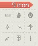 Vector black terrorism icons set. On grey background Stock Image