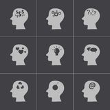 Vector black thoughts icons set Royalty Free Stock Image