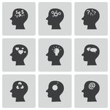 Vector black thoughts icons set Royalty Free Stock Photo