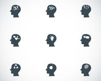 Vector black thoughts icons set Royalty Free Stock Photos