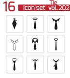 Vector black tie icons set Stock Photos