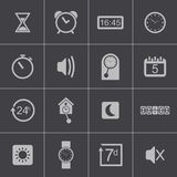 Vector black  time icons set Stock Photo