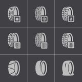 Vector black tire icon set Royalty Free Stock Images