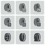Vector black tire icon set Stock Photography