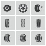 Vector black tire icons set Royalty Free Stock Photo