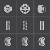 Vector black tire icons set Stock Photos