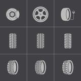 Vector black tire icons set Stock Photos