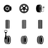 Vector black tire icons set Royalty Free Stock Images