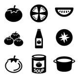 Vector black tomato icons set. Stock Photo