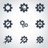Vector black tools in gear icon set Stock Photo