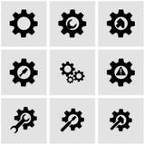 Vector black tools in gear icon set Royalty Free Stock Photos
