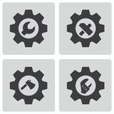 Vector black tools in gear icons set Stock Photo