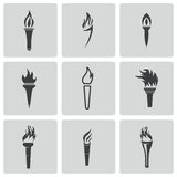 Vector black torch icons set Royalty Free Stock Images