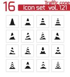 Vector black traffic cone   icons Stock Images